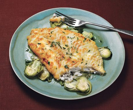 Petrale Sole with Lemon-Shallot Brussels Sprouts from Epicurious.com #myplate #protein #veggies