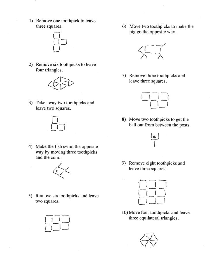 Check out these fun toothpick puzzles that are easy to set up and will give your kid an opportunity to practice all-important spatial reasoning skills.