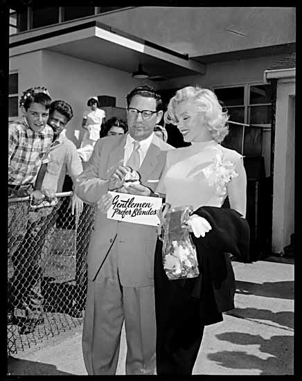 Marily Monroe - July 24, 1953 - visiting Vancouver on her way to Banff, to shoot River of no Return - here with entertainment promoter, Ivan Ackery