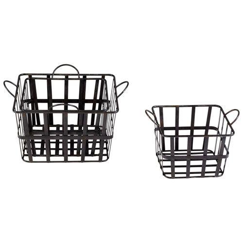 Raw Steel Grocery Baskets, Set of Three