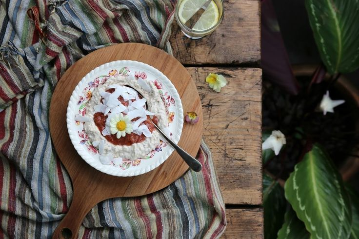 CREAMY COCONUT PUDDING WITH RHUBARB & ROSE JAM