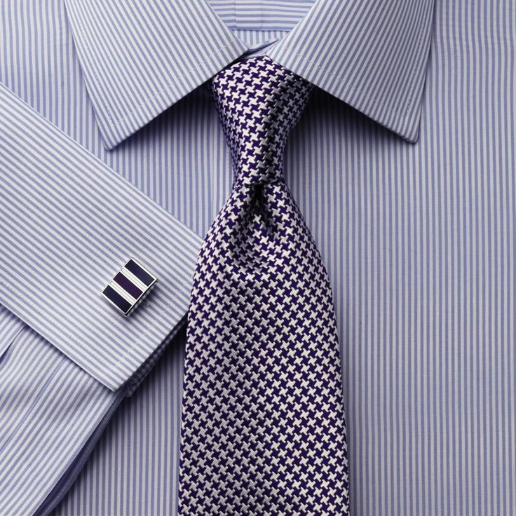 Lawrence sky Bengal stripe non-iron slim fit shirt French Cuff   S  from Charles Tyrwhitt   CTShirts.com