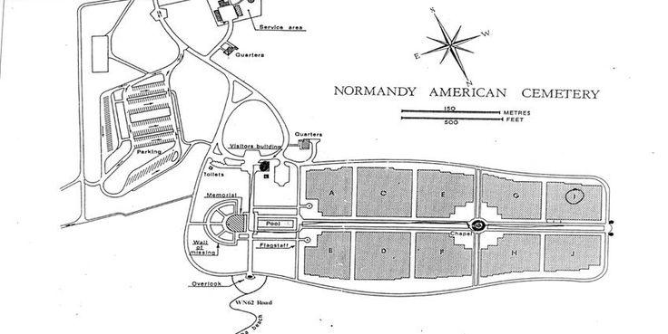 Plan du cimetière américain de Colleville-sur-mer