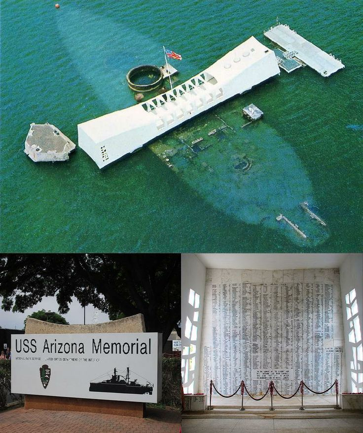 The Arizona Memorial was made to honor those who lost their lives during the attack on Pearl Harbor in 1941. It rests on the wreckage of the USS Arizona, the battleship that suffered the most damage. Today, it is one of the most visited places on Oahu.