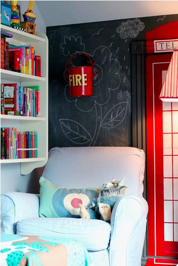british themed room.wish I could see more of that door!