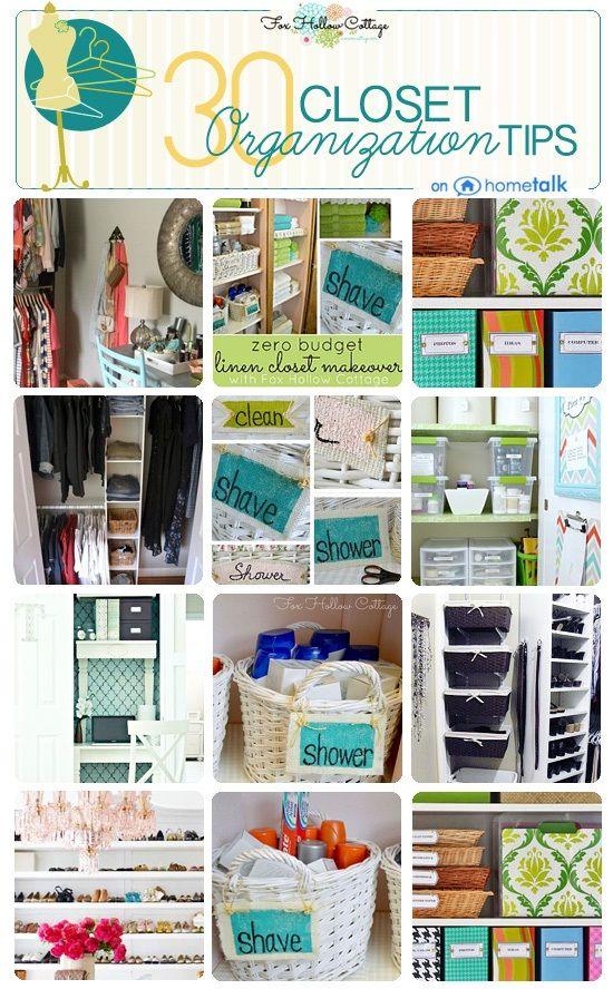 30 Clever Closet Organization Ideas. It would have taken me 25 years to figure out how to turn a lame little coat closet I have into an awesome hideaway work space! Summer project awesome.