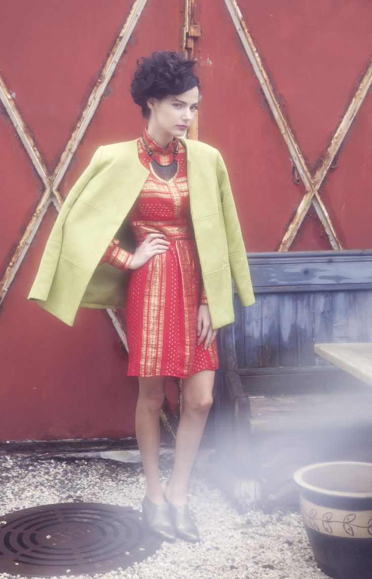 Evig Lookbook SS13 Exotic Infatuation. Vintage 60`s metallic ethnic inspired dress with padded 60`s green jacket.