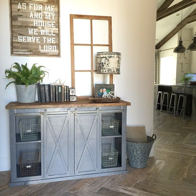 White Farmhouse Sliding Door Cabinet: DIY Buffet Cabinets For The Dining Room