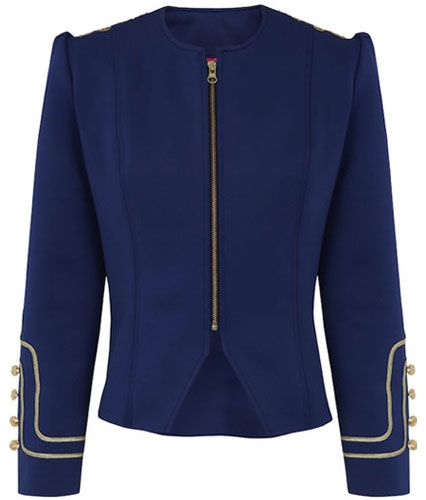 Condesa Neopreno Neoprene blue military jacket Gold embroidery