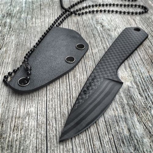 BASTION ALL CARBON FIBER EDC / NECK KNIFE STRAIGHT HANDLE
