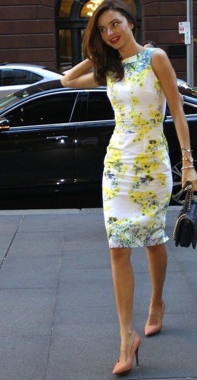White and Yellow. Floral Dress. Pencil Dress. Summer Dress. Summer Fashion. Miranda Kerr Style