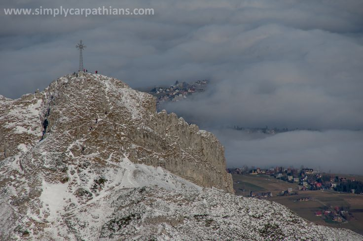 Cross on the top of Giewont Mountain. Tatra Mountains, Poland