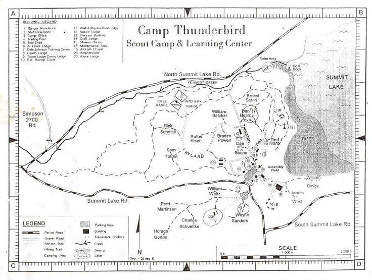 Camp Thunderbird Map Summit Lake Camping Waterfront
