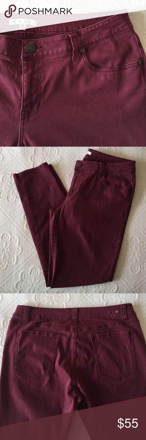 CAbi Bordeaux Wash Stretchy Skinny Jean Style# 919 CAbi Bordeaux Wash - Stretchy Skinny Jean - Merlot / Burgundy - Style # 919 CAbi Pants Skinny