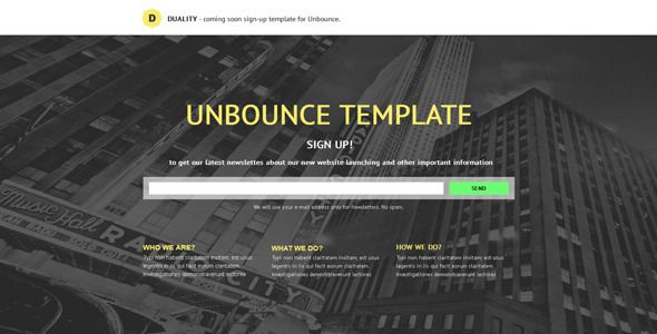 Duality - Sign-up Unbounce Template