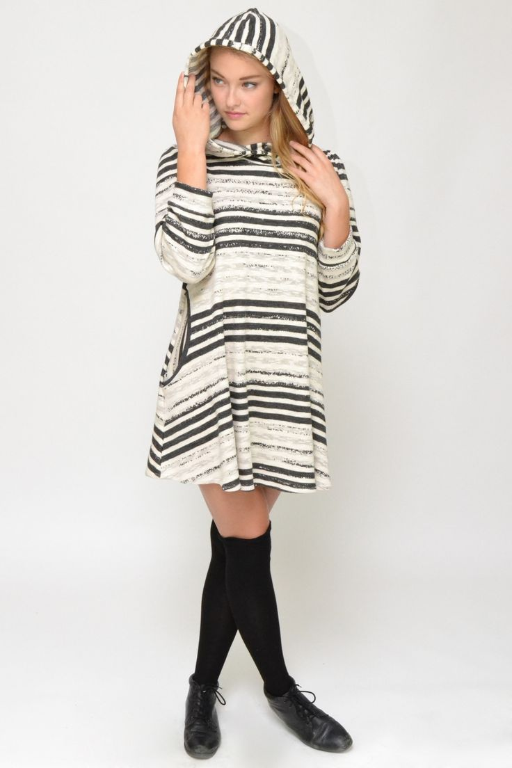 Hood ✔ pockets ✔ comfy cosy fabric ✔  Ladies, we believe we have found the perfect Sunday walk dress : ) http://www.chrystalshop.com/collections/dresses/products/grey-striped-dress-side-pockets-and-hood