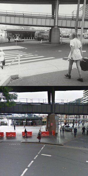 Alfred St looking north towards East Circular Quay c1973>2015. [c1973-City of Sydney Archives>2015-Google Street View. By Phil Harvey]
