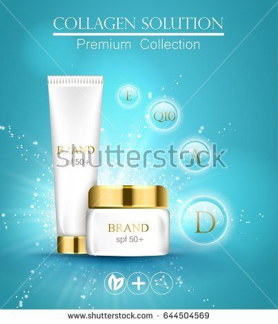 essense and a cream for skin care. 3d vector realistic illustration. Collagen solution . The design of cosmetic products. Presentation of face care.