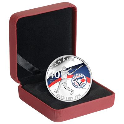 Commemorate the 40th season of the Toronto Blue Jays with this colourized silver coin.  Toronto initially received their MLB franchise in 1976, and the Blue Jays have been Canada's team ever since. The reverse of this coin features a baseball player swinging a bat, doubtless having hit another home run. A colourized logo on on the right side of the field, and a wave with the team's official colours complete the energetic look.