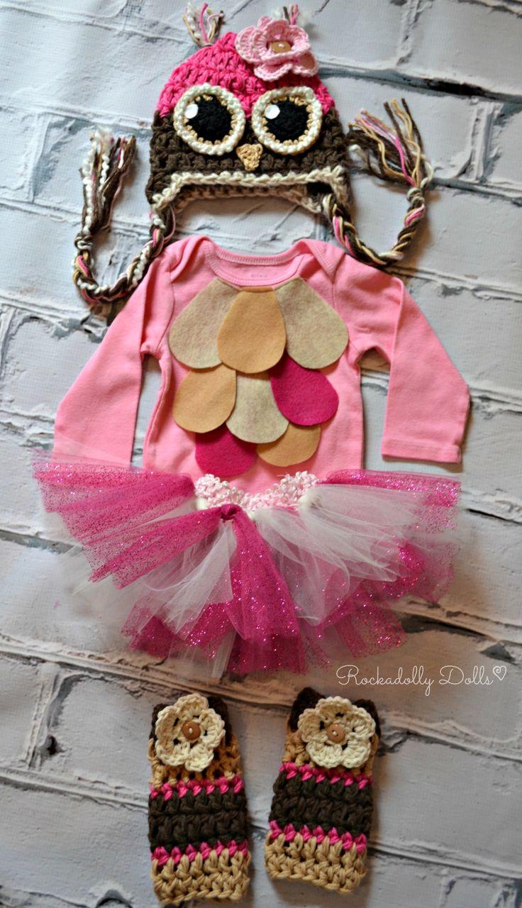 Crochet Owl Costume Baby Infant Newborn Toddler Photo Prop Photography Gift Halloween Costume Sparkle Tutu Girl