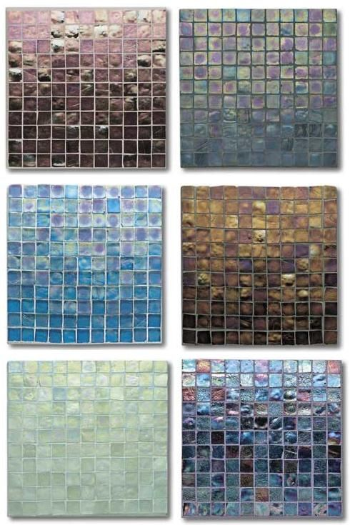 Tessera Iridescent glass tile is simply astonishing - here's partial color palette for your enjoyment... Tessera is the newest glass mosaic tile line from the Oceanside Glasstile company headquartered...