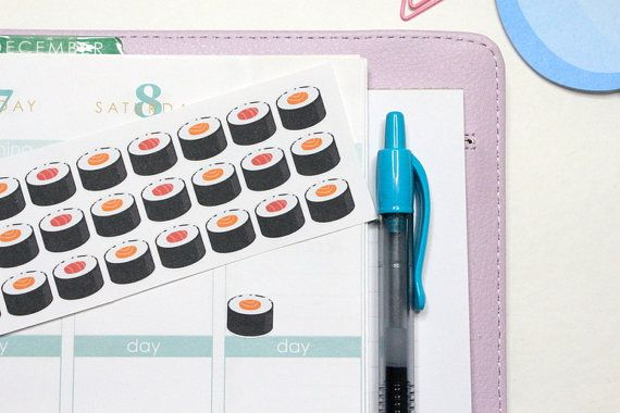 30 Sushi Roll Stickers Perfect for your Erin by KarolinasKrafts