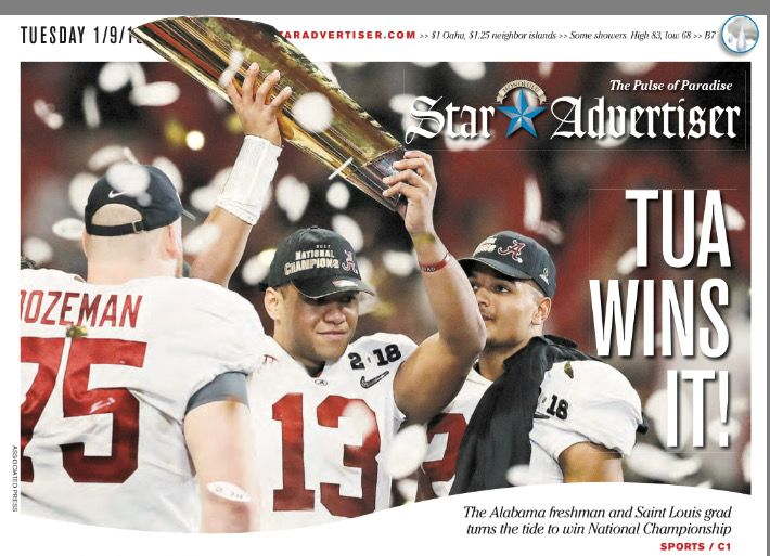 Front page of The Star Advertiser, following Bama's 26-23 OT win in the College Football Playoff National Championship at Mercedes-Benz Stadium in Atlanta, 2018 National Champions! #Alabama #RollTide #Bama #BuiltByBama #RTR #CrimsonTide #RammerJammer #CFBPlayoff #NationalChampionship #CFBNationalChampionship2018
