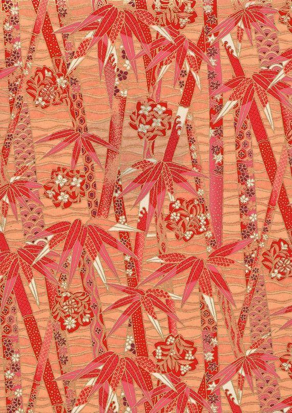 Hot bambou rose et or Floral japonais Yuzen par mosaicmouse sur Etsy, $2.00
