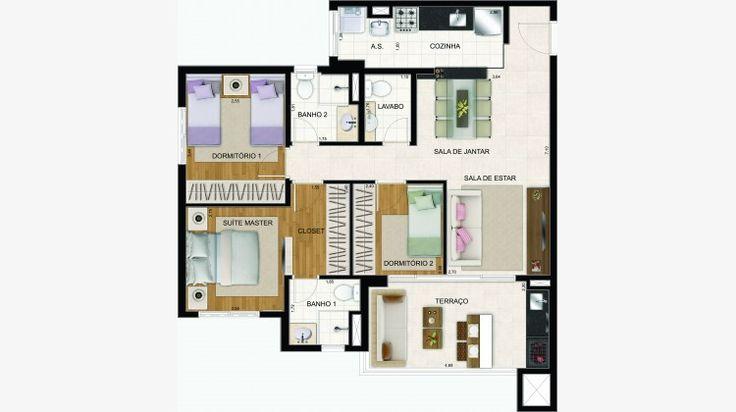 Apto 86 m² com 3 dorms (1 suite). Terraço com churrasqueira e pia. Apto com lavabo.