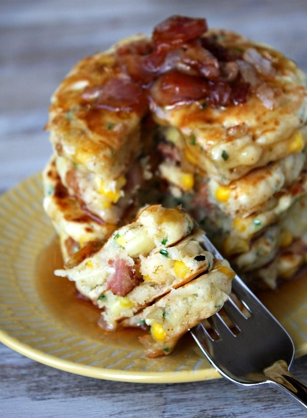 """bacon and corn griddle cakes...definitely great for """"brinner"""" (breakfast for dinner)  //Manbo"""