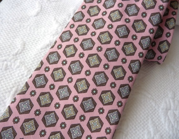 Men's Vintage Pink Silk Tie with Medallions by French Designer Guy Laroche at AngelGrace on etsy.