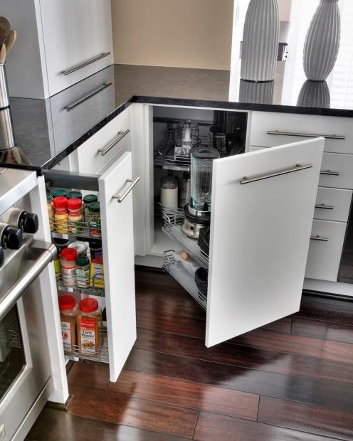 Contemporary U Shaped Black Kitchen White Cabinets Joe