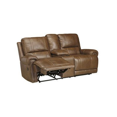 signature design by ashley paron double reclining loveseat with console type power upholstery