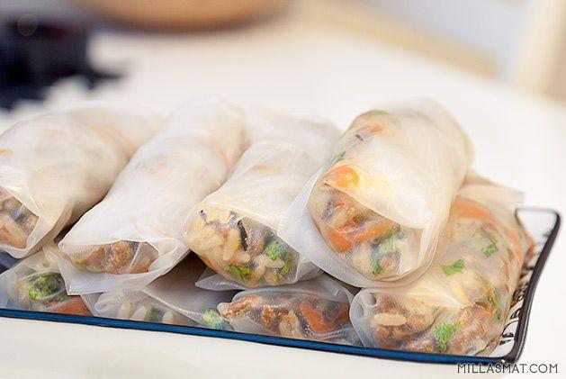 Vietnamesiske vegetar-vårruller   Millas Mat