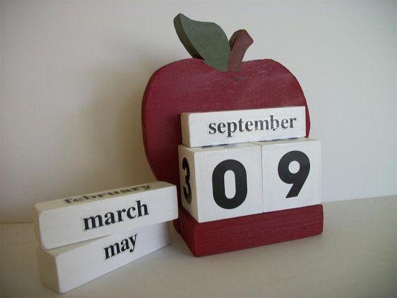 Apple Calendar Perpetual Wood Block Red Apple Decor Teacher Gift via Etsy
