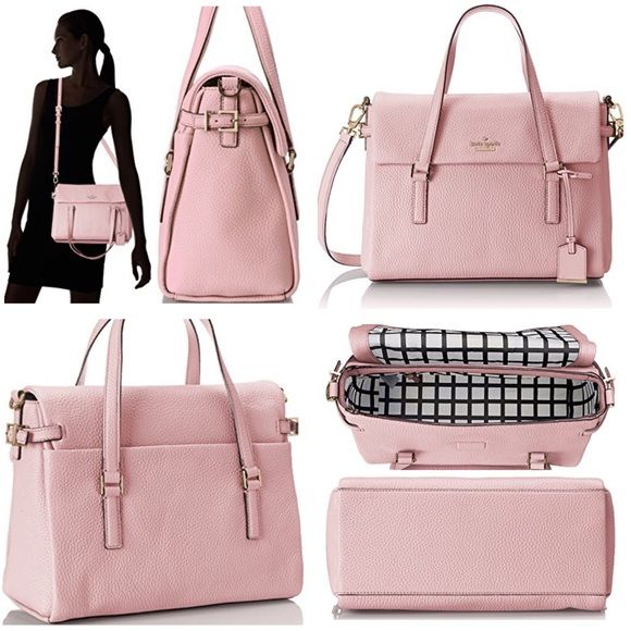 """Kate Spade Holden Street Small Leslie Handbag Brand New Kate Spade Handbag Holden Street Small Leslie. Rosejade Color. Beautiful light pink leather bag with a black & white interior. 2 small pockets on one side and 1 large zipper pocket on the other. Has a detachable & adjustable strap and two handles. Can be worn on the shoulder or as a Crossbody or held by the two handles! Comes with KS dust bag. 9.5 inches tall - 12.5 inches wide - 5.5 inches deep. NO TRADES/NO PAYPAL Free """"Kate Spade""""…"""