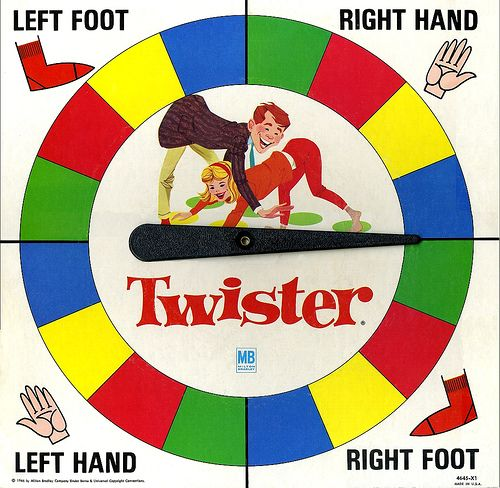 """Twister (a game of physical skill):  Twister was submitted for patent by in 1966, and became a success when Eva Gabor played it with Johnny Carson on television's Tonight Show on May 3, 1966. However, in its success, Twister was also controversial. The company that produced the game, Milton Bradley, was accused by its competitors of selling """"sex in a box"""". That accusation was probably because Twister was the first popular American game to use human bodies as playing pieces."""