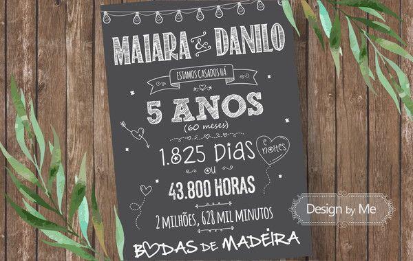 Chalkboard Impresso Sem Moldura Bodas De Madeira 5 Anos Em