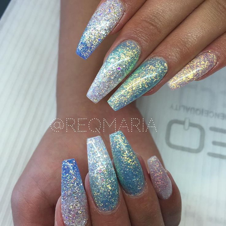 Blue + Aqua + Silver holographic glitter ombre long coffin ...