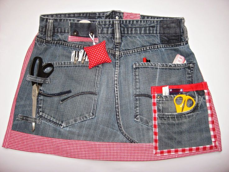 Nähschürze aus alter Jeans / Sewing apron made from old pair of jeans / Upcycling