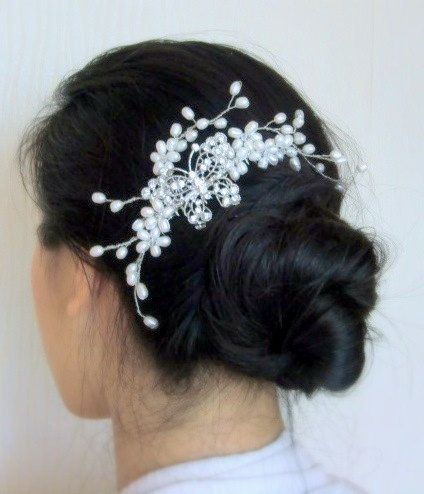 Butterfly Romance - Freshwater Pearl Bridal Hair Comb (Limited Edition)