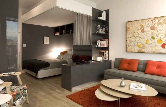 Grey White Walls Grey Curtains How To Decorate A Small Living Room Grey Sofa Orange Thr In 2020 Brown Living Room Decor Small Apartment Living Room Trendy Living Rooms