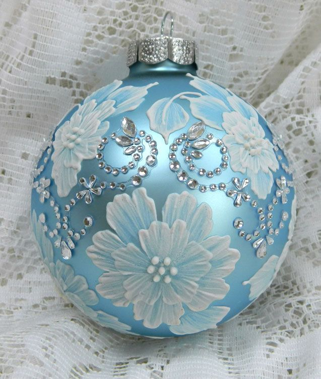 Soft Blue MUD Floral Ornament with Motif Bling. $35.00, via Etsy.