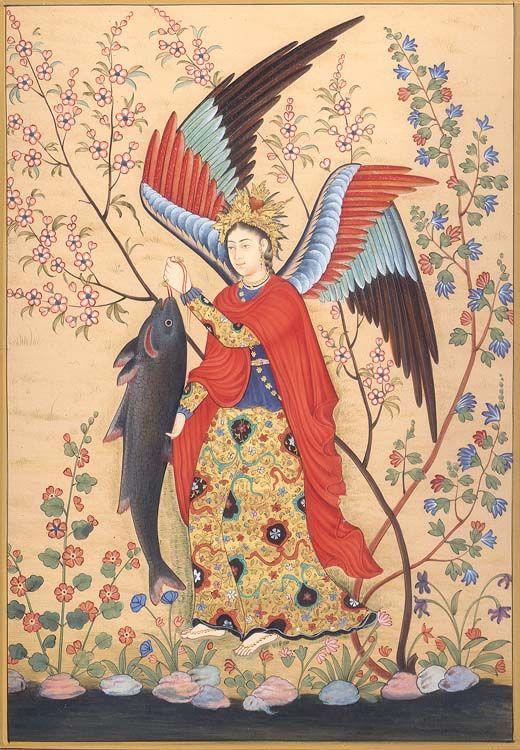 Hossein Naqqash, Archangel Raphael, (c. 1590, Mughal; Musée Guimet, Paris)