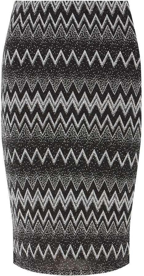 Dorothy Perkins Petite Silver Zig Zag Black Tube Skirt