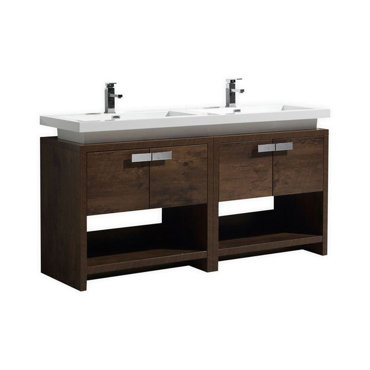 "Levi 60"" Double Sink Rose Wood Modern Bathroom Vanity with Cubby Hole"