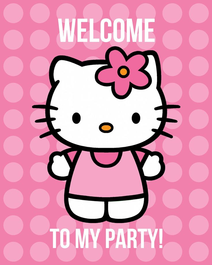 all things simple | free Hello Kitty printables--invites, welcome poster, button designs, and toppers/tags.