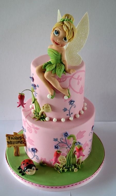 Cake Wrecks - Home - Sunday Sweets: Jen'sFavorites - Oh. My. Goodness.  Tinkerbell AND an adorable ladybug on the same cake!  I want this!  Though, no one would be allowed to actually cut into the cake if it were mine...
