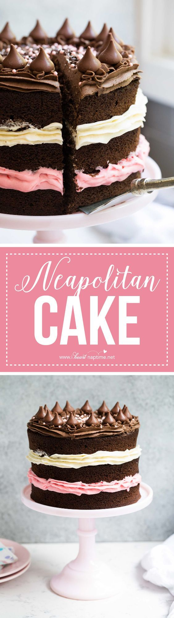 Neapolitan Cake with layers of chocolate, vanilla and strawberry buttercream frosting. A classic ice cream flavor turned into a delicious cake!