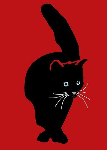Black Cat in Red, digital drawing. Artwork copyright © 2008.9 by Sebastiano Ranchetti.